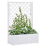 Festnight Jardinera con Celosia | Jardinera con Enrejado y Sistema de Riego Automático Blanco