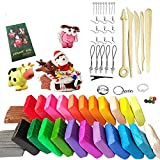 24 Colors Polymer Clay,Baken Soft Clay,Oven Baking Clay Kit with 5 Sculpting Tools and 33 Accessories,0.7oz Per Block and Box Storge,Great DIY Clay Crafts Gifts