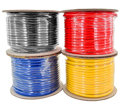 GS Power 10 Gauge Stranded Copper Clad Aluminum Primary Wire Combo for Car Audio Amplifier Remote Automotive AV Dash Harness Hookup Wiring   Color: Red Black Blue Yellow in 100 feet Roll