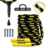 XGEAR Heavy Battle Rope,Anchor Strap Kit/Wall Hanger Included - Upgraded Exercise Training Rope of High Tensile Strength Poly Dacron/Undulation Ropes for Strength Training, Cardio Workout, Yellow