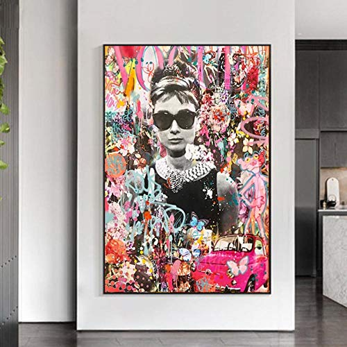 QZROOM Pop Graffiti Art Audrey Hepburn Retrato Art Prints Street Art Celebrity Poster Lienzo Pintura Cuadros de Pared Living Room Decor -70x100cm Sin Marco