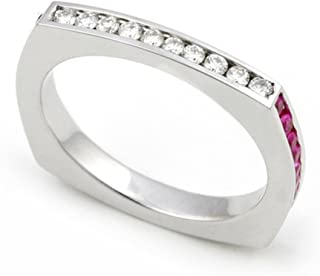 14k White Gold Channel Set Diamond and Multi Color Sapphire Eternity Wedding Band Ring (G-H/SI, 1/6 ct.)
