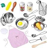 iBaseToy Küchenspielzeug Zubehör Kinderküche Kochgeschirr Edelstahl Pfannenset Schürze und Kochmütze für Mädchen und Jungen