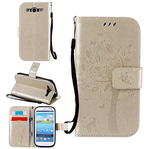 Sangrl Case per Samsung Galaxy S3 / i9300, Premium PU Pelle Flip Portafoglio Protettiva Case Moda in Rilievo Gatto Albero la Farfalla Design - Gold