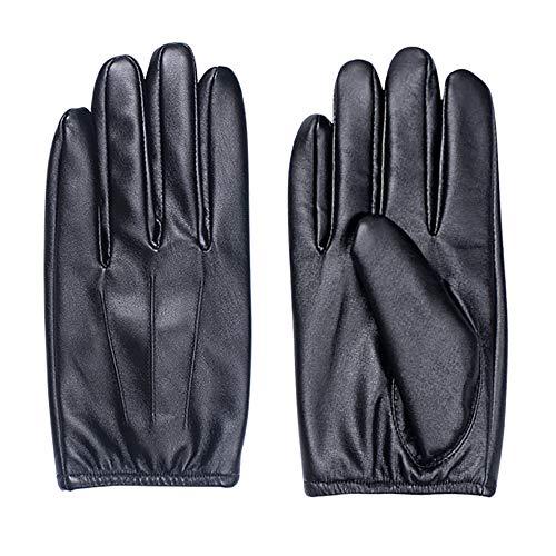 He-art Lederhandschuhe Vollinduktions-Touchscreen Geeignet für Fahrer Finger warmhalten, Navigation verwenden, Mobiltelefon, Messaging, Tippen (Kunstleder, schwarz),L