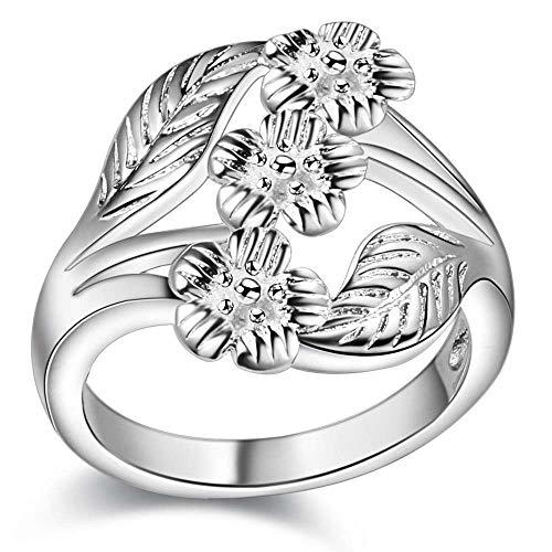 Verzilverd Groot Bloem Blad Ring Grootte 17 (NL) 8 (US)