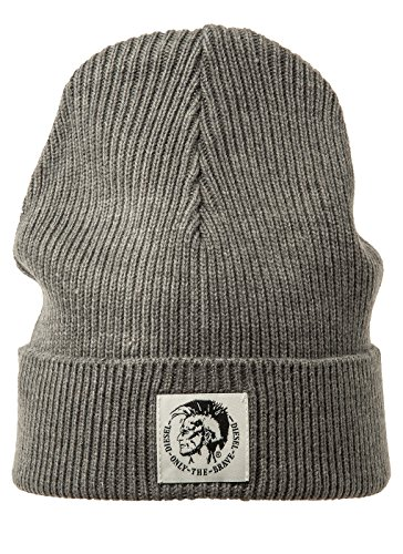 Diesel Herren Mütze Mohawk Logo Brand K-Kodery Mütze Unifarben - Farbauswahl: Farbe: Grau