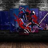 HFDSA 5 Parties Tableau Tableaux Decoration Murale Spider Man Spider Verse Super-Héros 5 Pièces Tendu Toile Tableaux Modulaire Bureau Maison Deco Cadeau D'
