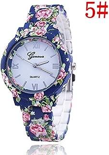 Women's Fashion Geneva Flower Print Style Analog Quartz Wrist Watch Bracelet,Ladies Fashion Watch Features Floral Print and Vintage Design WatchBand