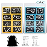 YGZN Metal Wire Puzzle Set de 16, Metal Puzzles Educativos Niños y Adolescentes Juguetes Educativos (Blue-Yellow)
