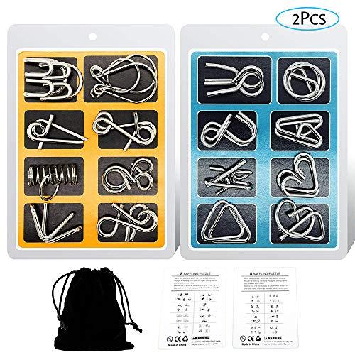 YGZN Casse-tête métallique Wire Set de 16, IQ Test Casse-tête Métal IQ Jigsaw Puzzle Jouet Éducatif pour Adultes et Enfants (Blue-Yellow)
