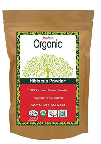 Radico Polvo de flores de hibisco en polvo, 100 g (orgánico, vegano).