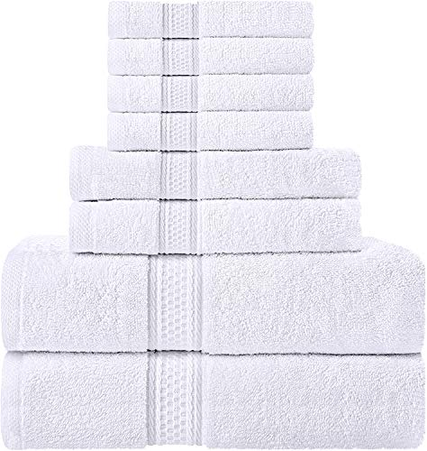 Utopia Towels Towel Set, 2 Bath Towels, 2 Hand Towels, and 4 Washcloths, 600 GSM 100% Premium Ring Spun Cotton Highly Absorbent Towels for Bathroom, Shower Towel, (Pack of 8)