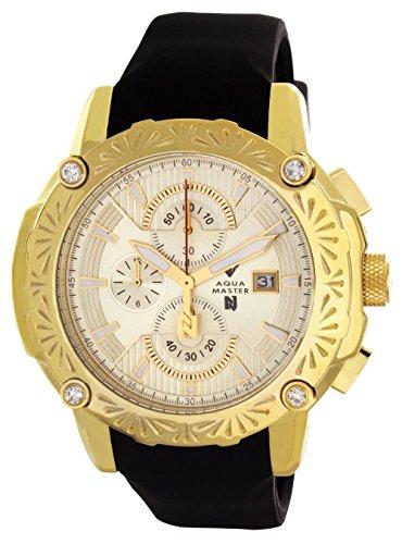 Aqua Master el Russo Nicky Jam Chrono Gold-tone Dial Diamond Hombres del reloj NJ104