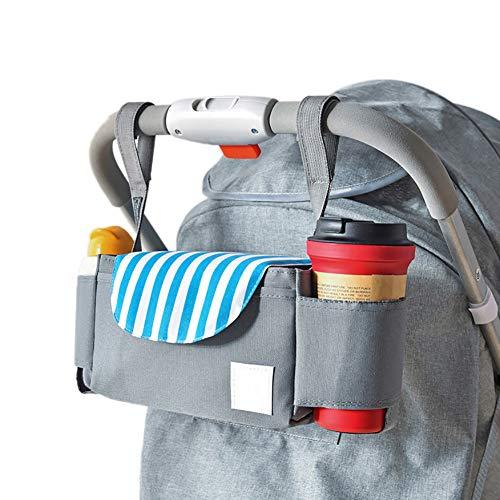 LYXCM del Organizador del Cochecito de bebé, Bolso Universal del Almacenamiento del Cochecito con 2 portavasos | Bolso de Mano Ligero Desmontable con Organizador para Padres Carry-All,A