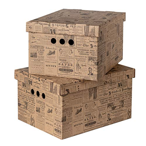 Pack of 2 Decorative Storage Boxes With Lids Home Office Bedroom Wardrobe Box Organiser Archive Box with Lid Bankers Box Multi-Use General Storage Archive Box with Lid Stylish Set XLarge Old Newspaper
