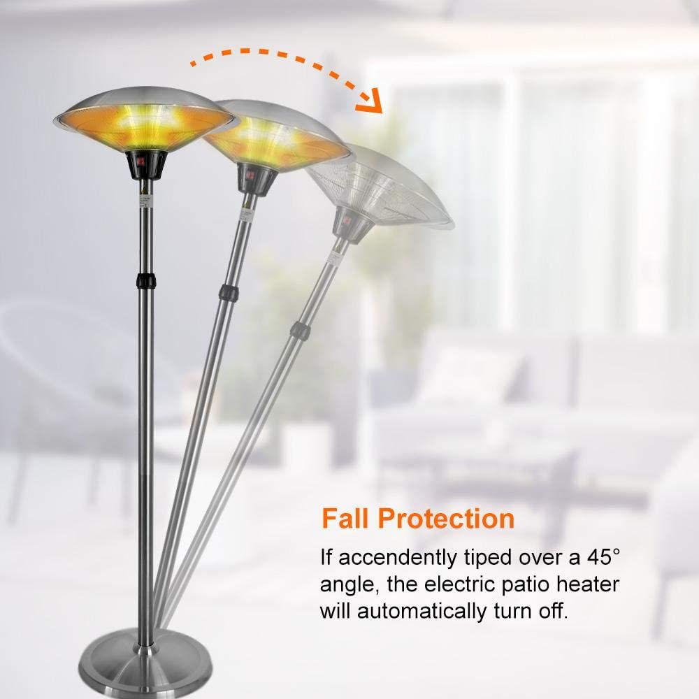 Gorilla Gadgets Electric Patio Heater 1500W for Outdoor Heating with Adjustable Height Quiet Operation Free Standing and Waterproof Space Warmer Silver