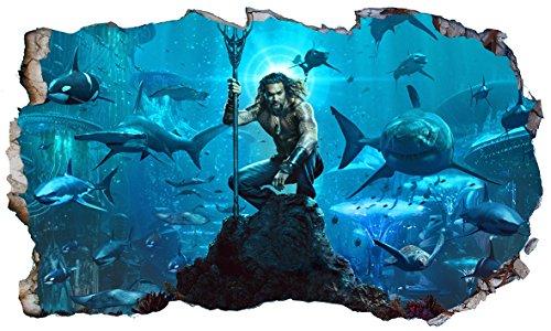 Chicbanners Aquaman V103 3D Magic Window Wall Sticker Wall Art Selbstklebendes Poster Größe 1000 mm breit x 600 mm tief (groß)