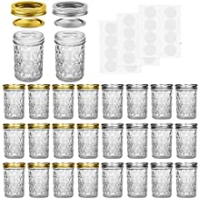 Mason Jars, 8 OZ Mason Jars Canning Jars Jelly Jars With Regular Lids and Bands, Ideal for Jam, Honey, Wedding Favors, Shower Favors, Baby Foods, DIY Magnetic Spice Jars, 24 Pack By SPANLA