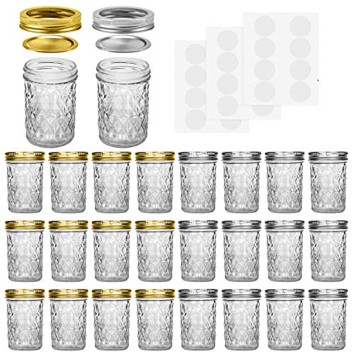 Mason Jars, 8 OZ With Regular Lids and Bands