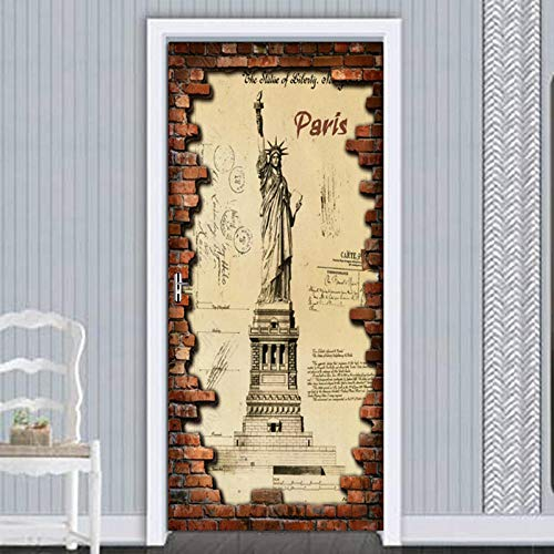 LUOGEGEBBDiy Etiqueta de la Puerta Retro Liberty PVC Flor autoadhesiva Etiqueta de la Pared Mural Habitación Puerta Decoración Etiqueta Papel Pintado Cartel