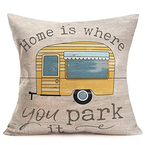 YANGYULU Vintage Campers Pattern Farmhouse Decor Throw Pillow Covers Cotton Linen Pillow Case Cartoon Travel RV with Motivetion Quote Cushion Cover for Man Woman Couch Bed 18'x18' (Vintage Camper)