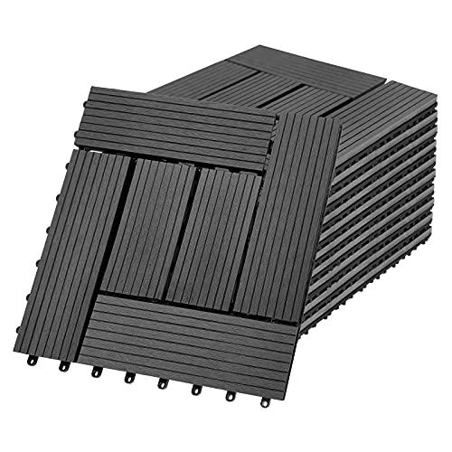 Aufun Baldosas de WPC de plástico, 30 x 30 cm, baldosas de terraza o balcón, con clic, aspecto de madera, color antracita, tipo B (11 unidades para 1 m², antracita)