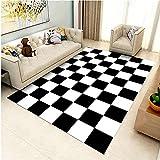 Alfombras Adornos Salon Alfombra geométrica a Cuadros Blanca Negra Fácil de Limpiar y Duradero alfombras para Cocina Decoraciones para Habitaciones 60*120cm