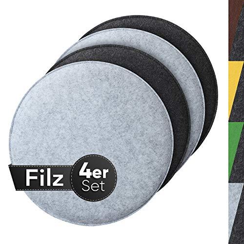 Sidorenko gemütliches Sitzkissen rund aus Filz Ø 36cm - 4er Set Grau I Hellgrau - Waschbare Stuhlkissen kompatibel für Eames Schalenstuhl - Komfortable Sitzauflage für Bank I Stuhl