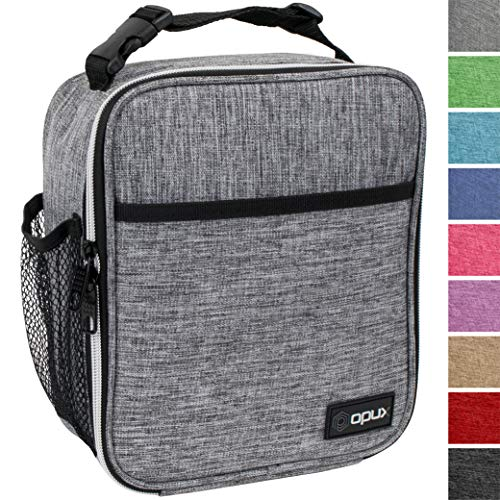OPUX Premium Insulated Lunch Box | Soft Leakproof School Lunch Bag for Kids, Boys, Girls | Durable Reusable Work Lunch Pail Cooler for Adult Men, Women, Office Fits 6 Cans (Light Grey)