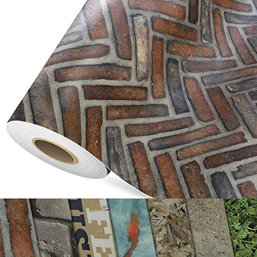 CV Bodenbelag Caracterra - extra abriebfester PVC Bodenbelag (geschäumt) - Foto-Druck Ziegelstein - Oberfläche strukturiert - Meterware (100x400 cm)