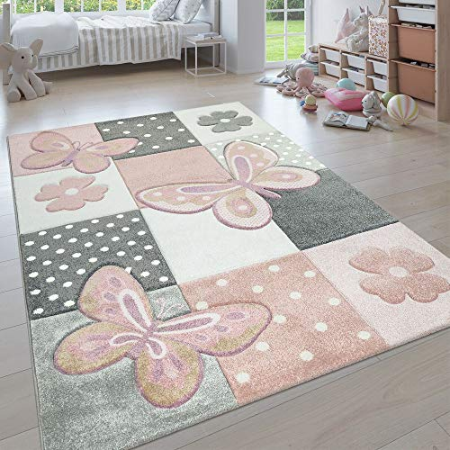 Paco Home Kinderteppich, Moderner Kinderzimmer Pastell Teppich, Niedliche 3D Tiermotive, Grösse:160x230 cm, Farbe:Mehrfarbig 3
