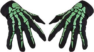 Amosfun Halloween Gloves Bone Gloves for Halloween Party (Green)