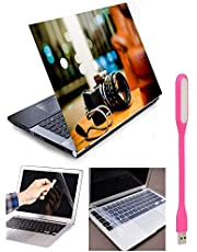 BOTANIX Designer Camera 4in1 Combo Kit for 15.6 inch Laptops Skins Sticker Vinyl Screen Guard Silicone Keyboard Protector and USB Light (HQ272, Multicolour)