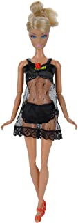 E-TING Underwear Bra and Panty Set Lingerie Pajamas Gown Black Lace Dress with Nightie Made to for The Girl Doll