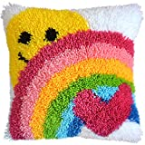Latch Hook Kit DIY Throw Pillow Cover Sofa Cushion Cover Sun & Rainbow Pattern Paint Cross Stitch 16X16 inch