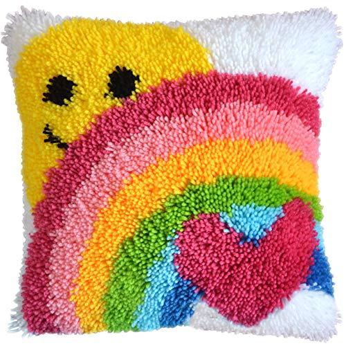 Latch Hook Kit DIY Throw Pillow Cover Sofa Cushion Cover Sun & Rainbow Pattern Paint Cross Stitch 16X16 inch