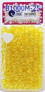 Tara Metallic Color 12 MM Plastic Beads For Braid Hair 240 Pieces In One Pack (Pack of 1, GLITTER YELLOW)