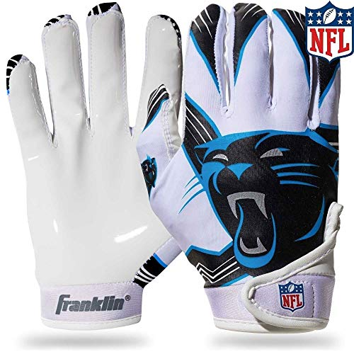 Franklin Sports Carolina Panthers Youth NFL Football Receiver Gloves - Receiver Gloves For Kids - NFL Team Logos and Silicone Palm - Youth M/L Pair