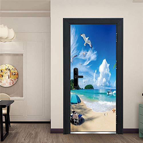 YQLKD Papel Pintado De Puertas 3D Papel Pintado Autoadhesivo para Puerta con Vista A La Playa Junto Al Mar, Mural De Póster para El Hogar De PVC