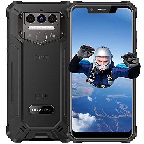 Rugged Smartphone OUKITEL WP9, 6GB RAM+128GB ROM 8000mAh Batteria Android 10 Dual SIM 4G Impermeabile IP68 Antiurto Cellulari Offerte, 5.86 Pollici Tre Fotocamere con NFC Telefono Resistente Nero