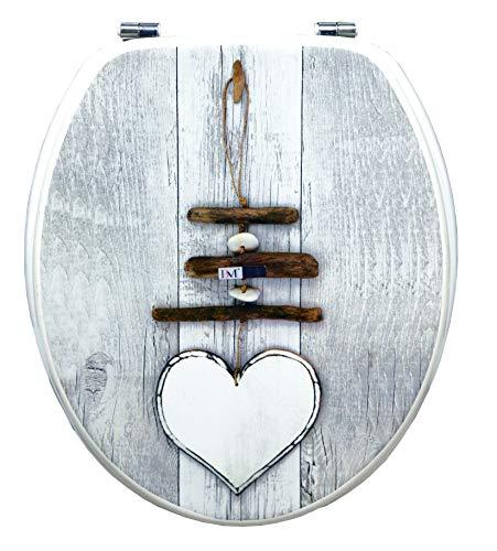 BM 4115 Copriwater Sedile Tavoletta WC Universale Coperchio Toilet Seat Bagno in Legno MDF Grigio Decorato Motivo Cuore con Sfondo Bianco, Cerniera in Acciaio
