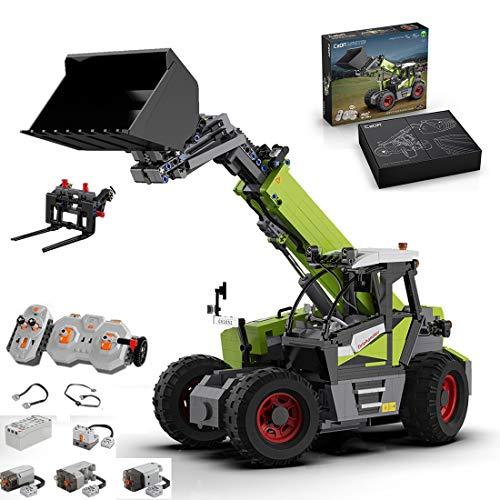 KEAYO CADA C61051W Tractor teledirigido con mando a distancia y motor, bloques de sujeción, compatible con la técnica Lego