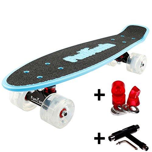 FunTomia Miniboard Cruiser Skateboard mit 70/65mm Big Wheel Rollen inkl. MACH1 ABEC-11 Kugellager