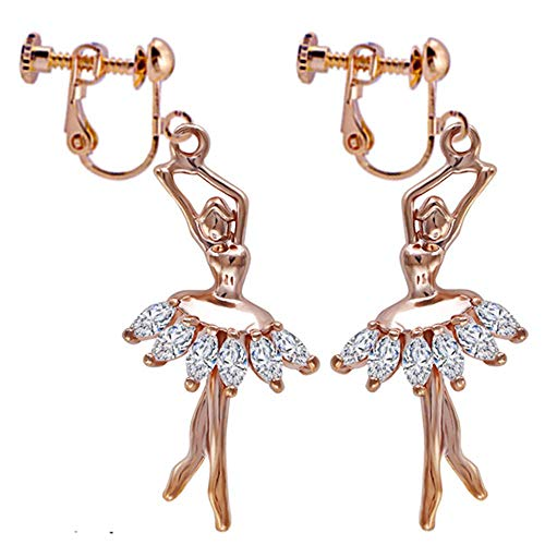 Ballet Dance Clip On Earrings Sexy Cute Boutique Modern Handmade Gold Plated Dangle Luxurious