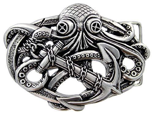 Punk Pirate Octopus Kraken Boat Anchor Antique Silver Belt Buckle