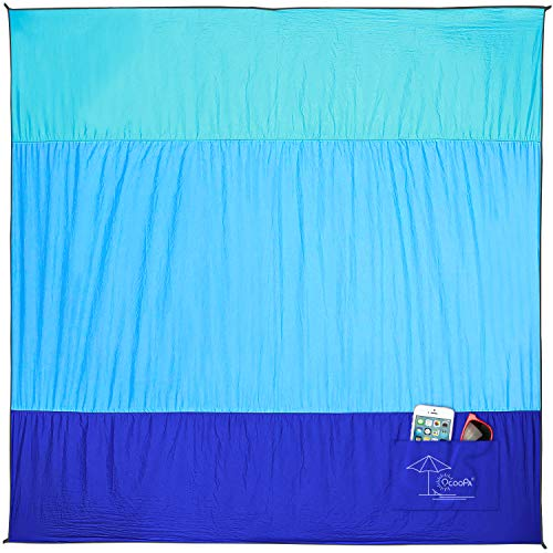 OCOOPA 10X 9 Extra Large Beach Blanket, Soft Lightweight Pocket Blanket, Waterproof Outdoor Picnic Mat for Beach, Camping, Hiking, Music Festival, Machine Washable