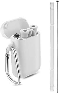 Pajitas de silicona reutilizables, portátiles, plegables, de grado alimenticio, con funda de transporte y cepillo de limpieza para viajes y uso diario, sin BPA, aprobado por la FDA gris