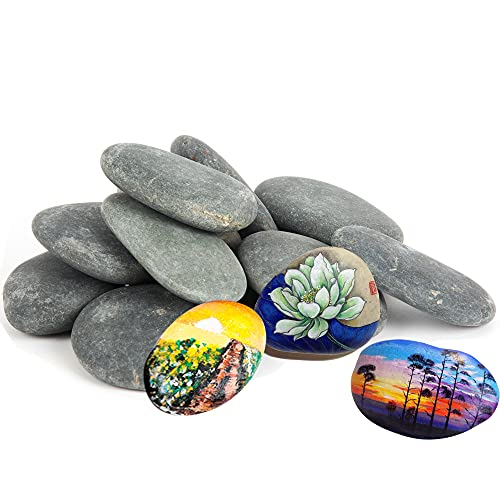 Black Painting Rocks 10 PCS,2.5-3 Inches Natural Flat Craft Rocks for Kids Adults Painting DIY Kindness Stones