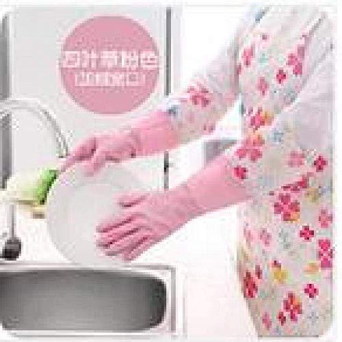NewbieBoom 1PAIR Gant de Toilette en PVC avec Flanelle Gant de ménage pour la Vaisselle imperméable à l'eau Arrêtez-Le pour Nettoyer Le Gant en Caoutchouc LF 188 Bleu Ciel, Rose